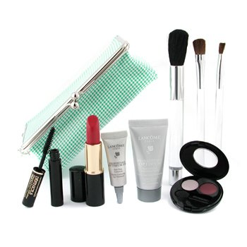 Lancome-Travel Set: Moisturizer 15ml+ Eye Treatment 4g+ L/S+ E/S Duo+ Definicils+ 3x Brush+ Bag