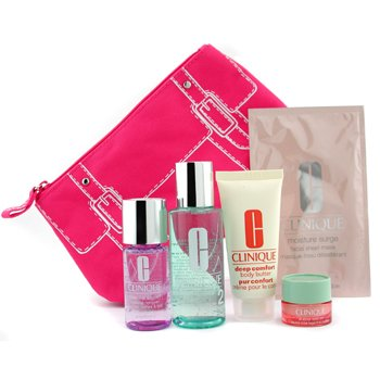 Clinique-Travel Set: Make Up Remover + Lotion 2 + Eye Cream + Mask + Body Butter + Bag