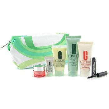 Clinique-Travel Set: Soap 50ml + DDML 30ml + Repairwear 7ml + Eye Cream 7ml + Body Butter 40ml + Mascara + bag
