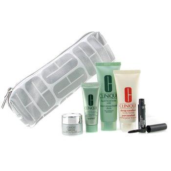 Clinique-Travel Set: Facial Soap + Continuous Cream + Repairwear Eye Cream + Body Cream + Mascara