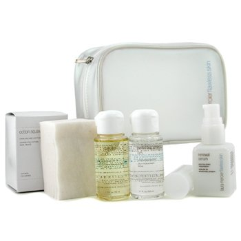 Laura Mercier-Skincare Travel Set Rich: Purifying Oil + Perfecting Water + Renewal Serum + Cotton Squares
