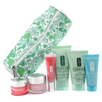 Clinique-Travel Set: Liquid Soap+ 7 Day Scrub+ Gloss+ All About Eyes+ Turnaround+ Thirst Relief+ Bag