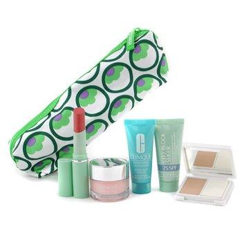 Clinique-Travel Set: Super City Block + Moisture Surge Cream + Turnaround Renewer + Lipstick + Compack Makeup
