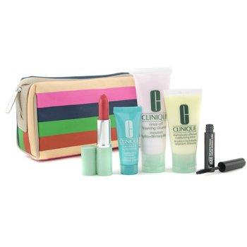 Clinique- Travel Set: Cleanser + D.D.M.L. + Turnaround Renewer + Lipstick + Mascara + Bag