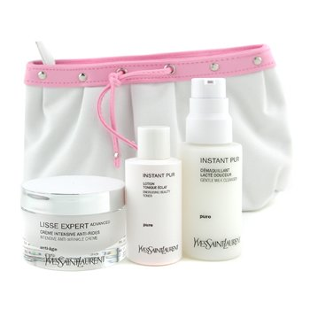 Yves Saint Laurent-Lisse Expert Set: Creme 50ml + Instant Pur Cleanser 75ml + Instant Pur Toner 50ml + Bag