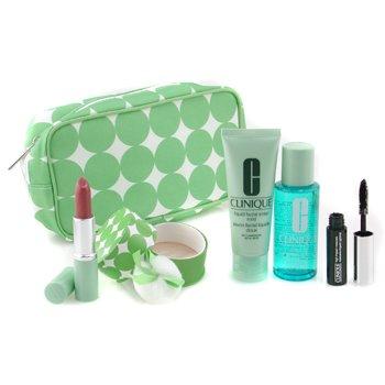 Clinique-Travel Set: Eye Solvent 60ml+ Liquid Soap 50ml+ Face Powder+ Mascara+ Lipstick+ Bag
