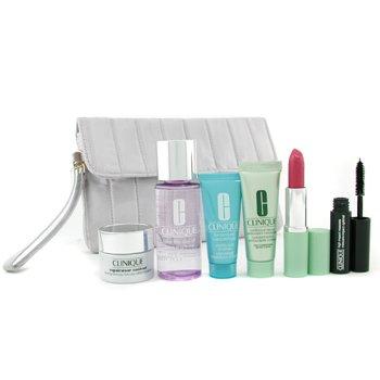 Clinique-Travel Set: Makeup Remover + Repairwear Contour + Moisturizer + Turnaround Concentrate + Lipstick + Mascara + Bag