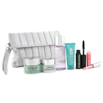 Clinique-Travel Set: Makeup Remover + Superdefense + Turnaround Concentrate + Repairwear Contour + Lip Gloss + Mascara + Bag
