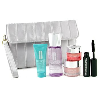Clinique-Travel Set: Make Up Remover + Moisture Surge Cream + All About Eyes Rich + Turnaround Renewer + Mascara + Bag