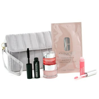Clinique-Travel Set: Moisture Surge Cream + All About Eyes Rich + Mask +  Mascara + Lipgloss + Bag