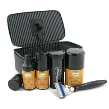 The Art Of Shaving-Travel Kit ( Lemon ): Razor+ Shaving Brush+ Pre-Shave Oil 30ml+ Shaving Cream 50ml+ A/S Balm 30ml+ Case