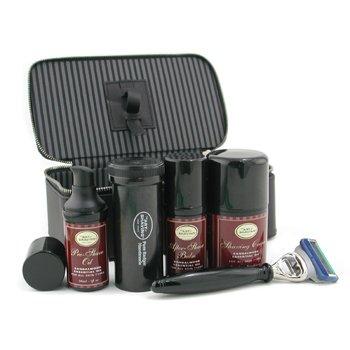 The Art Of Shaving-Travel Kit ( Sandalwood ): Razor+ Shaving Brush+ Pre-Shave Oil 30ml+ Shaving Cream 50ml+ A/S Balm 30ml+ Case