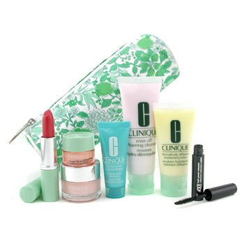Clinique-Travel Set: Cleanser 50ml+ DDML 30ml+ Turnaround Concen. 15ml+ Mascara+ L/S+ Eye+ Moisture Surge+ Bag