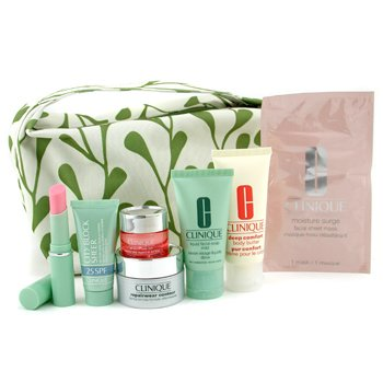 Clinique-Travel Set: Cleanser 50ml+ DDML 30ml+ Eye Mask+ Moisture Surge Extended 15ml+ Concentrate 15ml+ L/S+ Mascara+ Bag