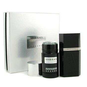Azzaro Silver Black Coffret: Eau De Toilette Spray 50ml/1.7oz + Desodorante en Barra 75ml/2.7oz  2pcs
