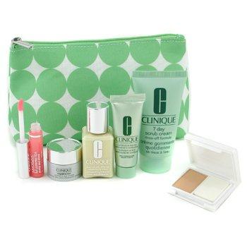 Clinique-Travel Set: Scrub 50ml + Continuous Cream 15ml + DDML 30ml + Repairwear Eye Cream 7ml + Lipgloss + Powder Makeup + Bag