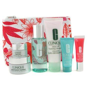 Clinique-Travel Set: Cleanser 50ml + Lotion 60ml + Repairwear Contour 15ml + Repairwear Eye 7ml + Trunaround Renewer + Lipgloss +Bag