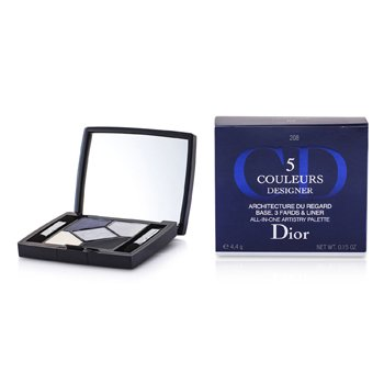Christian Dior 5 Color Designer Paleta Artistry Todo En Una - No. 208 Navy Design  4.4g/0.15oz