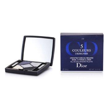 Christian Dior 5 Color Designer Paleta Artistry Todo En Una - No. 208 Navy Design  4.4g/0.15oz