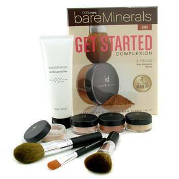 BareMinerals 100% Pure BareMinerals Get Started Complexion Kit - Dark (2xFdn Spf15+Tinted Mineral Veil+Face Color+3xBrush+DVD+Brush Shampoo) -