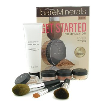 Bare Escentuals-100% Pure BareMinerals Get Started Complexion Kit - Medium ( 2xFdn Spf15+Mineral Veil+Face Color+3xBrush+DVD+Brush Shampoo )