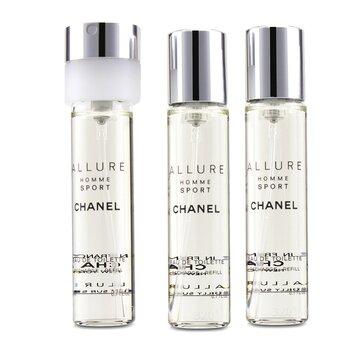 Chanel Allure Homme Sport Дорожная Туалетная Вода Спрей (с 3-мя Запасными Блоками) 3x20ml/0.7oz