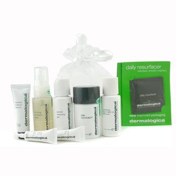Dermalogica-Travel Set: Cleansing Gel + Eye MU Remover + Microfoliant + Soothing Spray + Eye Repair+Moisture Balance+4x Daily Resurfacer