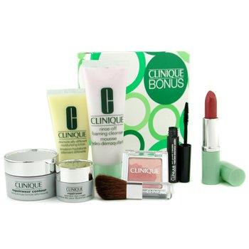 Clinique-Travel Set: Cleanser + DDML + Repairwear Cream + Repairwear Eye Cream + Mascara + Lipstick + Fresh Bloom + Brush