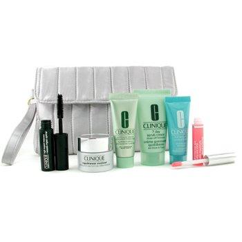 Clinique-Travel Set: 7 Day Scrub Cream+ Repairwear Contour+ Moisturizer+ Turnaround Concentrate+ Lip Gloss+ Mascara+ Bag