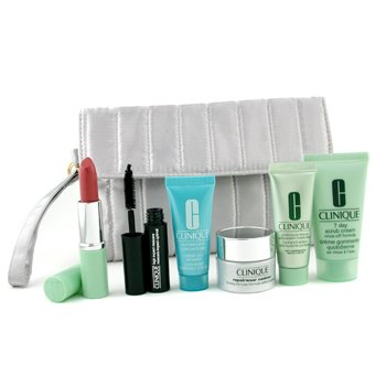 Clinique-Travel Set: 7 Day Scrub Cream+ Repairwear Contour+ Moisturizer+ Turnaround Concentrate+ Lipstick+ Mascara+ Bag