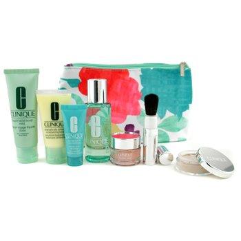 Clinique-Travel Set: Liquid Soap + Lotion 2 + DDML + Moisture Surge Gel Cream + Turnaround Renewer + Face Powder + Brush + Bag