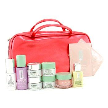 Clinique-Travel Set: Cleansing Milk + DDML + Moisture Surge Gel Cream + 2x Night Cream + 2x Eye Cream + Concnetrate + 2x Eye Mask +Bag