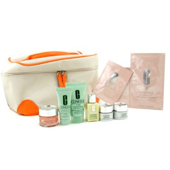 Clinique-Travel Set: Liquid Soap + Face Scrub + DDML + Moisture Surge Gel Cream + 2x Repairwear Eye + Mask + 2x Eye Mask + Bag