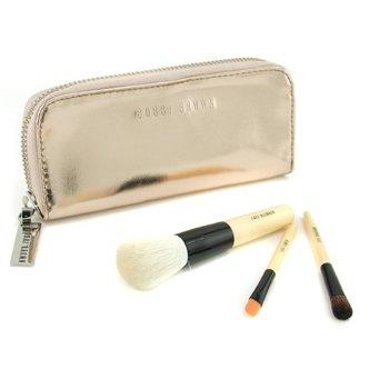 Bobbi Brown-Copper Diamond Mini Brush Set: Face Blender Brush+ Eye Shadow Brush+ Eye Liner Brush+ Case