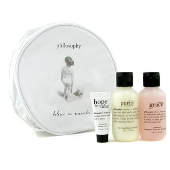 Philosophy-Travel Set: Amazing Grace Shower Gel + Purity Made Simple + Hope In A Tube + Bag