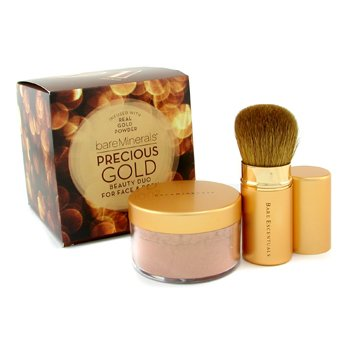 Bare Escentuals-Precious Gold Beauty Duo: BareMinerals Precious Gold Face & Body Color 15g + Gold Retractable Kabuki Brush