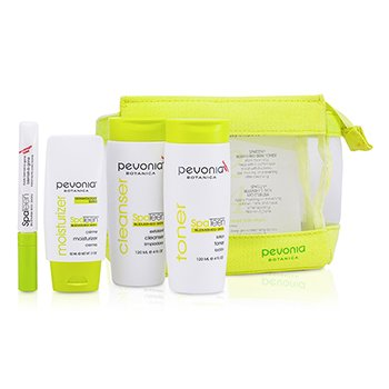 Pevonia BotanicaSpaTeen Blemished Skin Kit: Cleanser + Toner + Moisturizer + Bag 3pcs+1bag