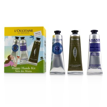 L'Occitane Perangkat Happy Hands: 2x Shea Butter 30ml + 2x Lavender 30ml + 2x Cooling Hand Gel 30ml  6x30ml/1oz