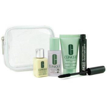 Clinique-Travel Set: Liquid Facial Soap Mild 30ml + Clarifying Lotion 2 30ml + DDML 15ml + Mascara + Bag