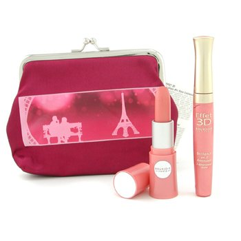 Bourjois-Lovely Lips Set: Effet 3D Lipgloss + Lovely Rouge Lipstick + Bag
