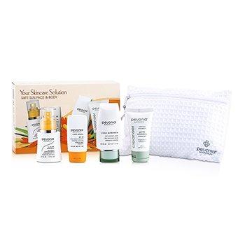 Pevonia BotanicaYour Skincare Solution Safe Sun Face & Body Set: Mist 50ml + Sunscreen 30ml + Body Scrub 50ml + Cleanser 50ml + Bag 4pcs+1bag