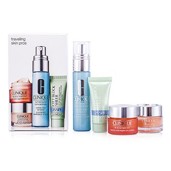 CliniqueSet Viaje Skin Pros: All About Eye Rich - Ojos 15ml + Turnaround Renewer - Exfoliante 30ml + City Block 15ml - Protector Rostro + Moisture Surge - Hidratante 15ml 4pcs