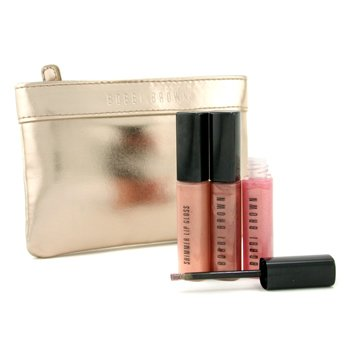 Bobbi Brown-Lip Gloss Trio with Golden Pouch ( Unboxed ): 3x Lip Gloss 4.2ml