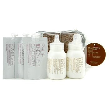 Philip Kingsley Smooth & Shiny Jet Set: Shampoo 75ml + Conditioner 75ml + Elasticizer Extreme 3 x 20ml  5pcs