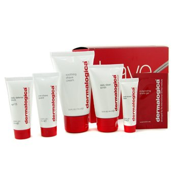 Dermalogica Men Shave System Kit: Scrub + Pre Shave Guard + Shave Cream + Post Shave Balm + Daily Defense Block  5pcs