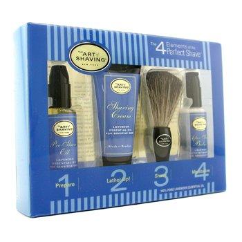 The Art Of Shaving Starter Kit - Lavender: Aceite Pre-Afeitado + Crema Afeitado + Brocha + B�lsamo After Shave  4pcs