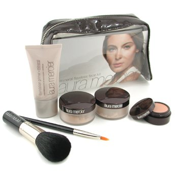 Laura Mercier-Mineral Flawless Face Kit - Real Sand: Fdt Primer + Mineral Pwd+ Mineral Illuminating Pwd + Concealer + 2x Brush + Bag