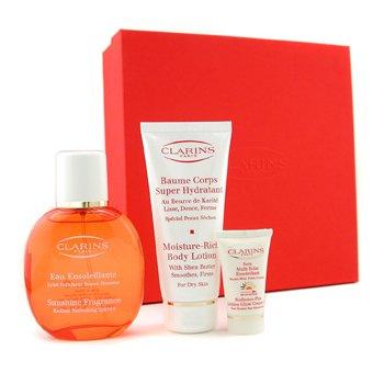 Clarins-Eau Ensoleillante Coffret: Fragrance Spray 100ml/3.4oz+ Body Lotion 100ml/3.5oz+Cream-Gel 12ml/0.4oz