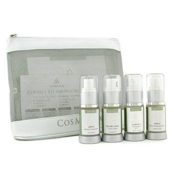 CosMedixSet The Most Effective Corrective: Limpiador Benefit + Affirm Serum+ Hidratante+ Tratamiento Definidor+ Neceser 4pcs+1bag
