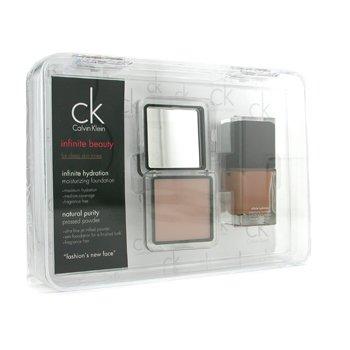 Calvin Klein Infinite Beauty Set - For Deep Skin Tones (Foundation # 106  Pressed Powder # 102) 2pcs
